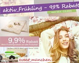 Aktiv-Frühling 9,9% Rabatt | Messe für Zirbenholzmöbel in München | Sommersteppbetten %