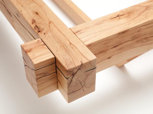 Balkenbett metallfreie balkenbetten aus kernbuche von for Balkenbett bauen