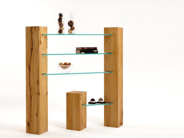 Balkenregal TRIO: Hochwertiger Nachttisch Aus Massivholz