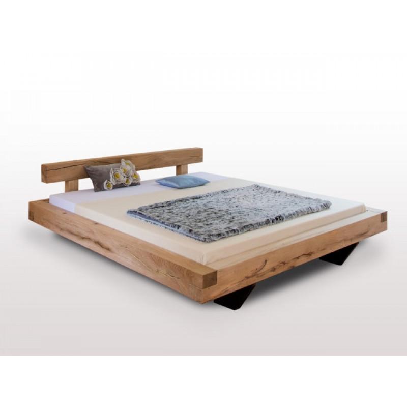 uriges Sumpfeiche Balkenbett BLUMENSTEIN, 200x180, metallfrei, exkl. Design, schwebende Optik, Rahmenstärke 11cm