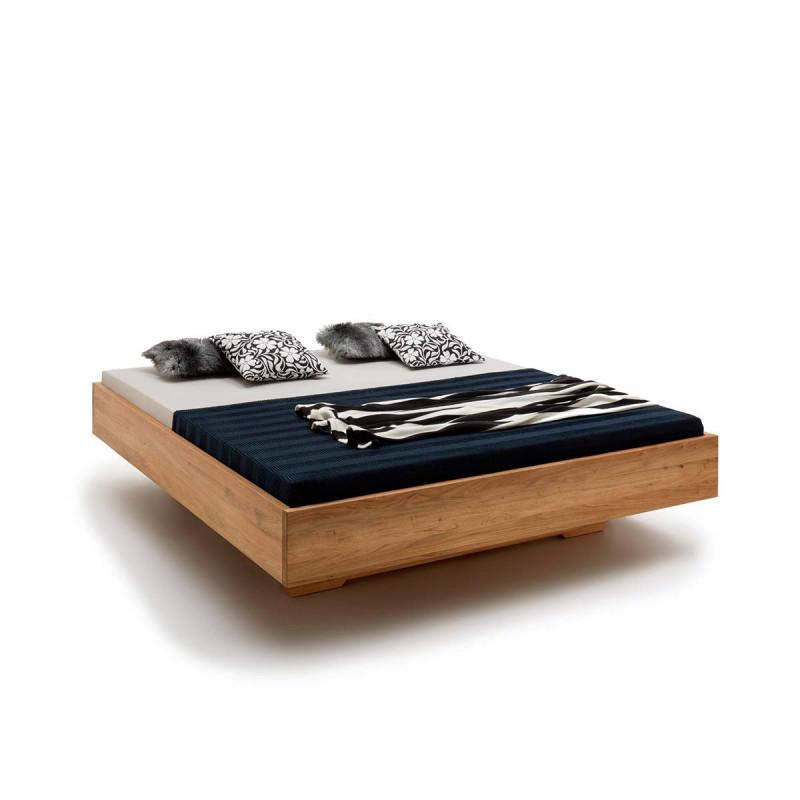 Holzschwebebett KASSEL, 200x180, Massivholz Wildeiche geölt, opt. Unterschub, Komforthöhe, echte Schreinerarbeit, Rahmenstärke 3cm
