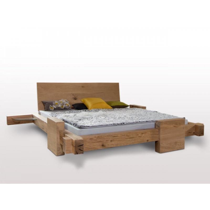 Designer Balkenbett HORNUNGSBURG, 200x180, urige Sumpfeiche geölt, metallfrei, perfekte Holzarbeit aus dt. Schreinermanufaktur, Rahmenstärke 11cm