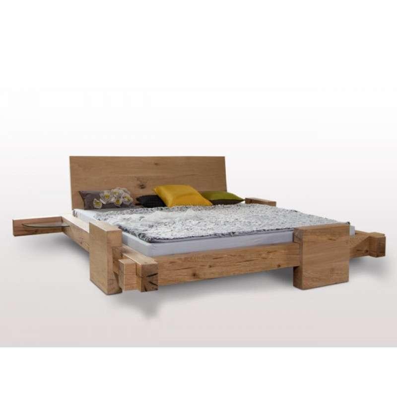 Designer Balkenbett HORNUNGSBURG, 200x140, urige Sumpfeiche geölt, metallfrei, perfekte Holzarbeit aus dt. Schreinermanufaktur, Rahmenstärke 11cm