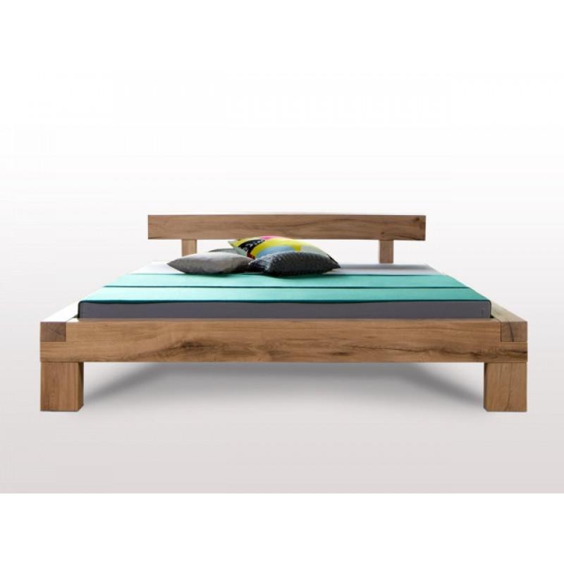 Balkenbett KREYENBURG L, 200x140, Komforthöhe, metallfrei, urige Sumpfeiche geölt, metallfrei, aus dt. Betten Manufaktur, Rahmenstärke 11cm