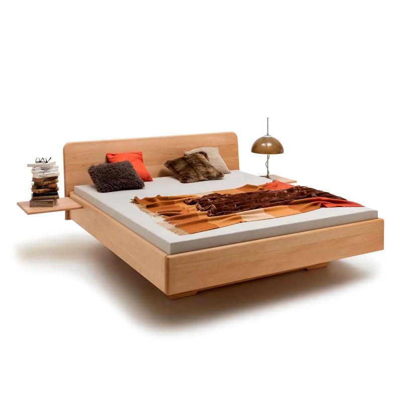 Schwebebett FULDA, 200x180, Massivholz Bett Buche geölt, soft gerunde Kanten, Komforthöhe, opt. Unterschub, Rahmenstärke 3cm