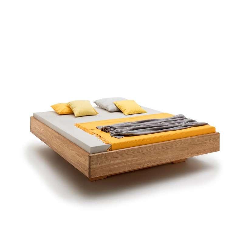 Massivholzschwebebett Harburg, 200x180, Wildeiche massiv, geölt, hypoallergen, opt. mit Unterschub, Rahmenstärke 3cm