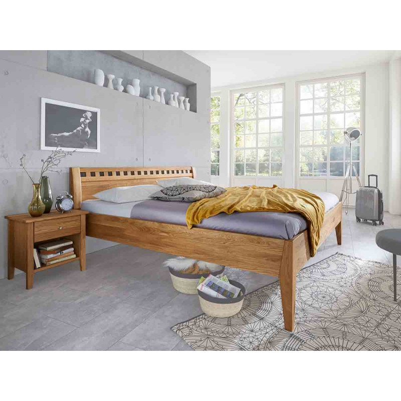 Einzelbett, Massivholzbett M&H DIANA II, 200x140cm, Kernbuche geölt, preiswertes, gutes Bett,
