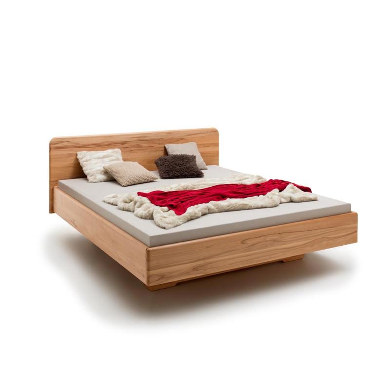 Schwebebett Eberswalde, 200x140, Massivholz Bett Kernbuche geölt, soft gerunde Kanten, Komforthöhe, opt. Unterschub, Handwerksware, Rahmenstärke 3cm
