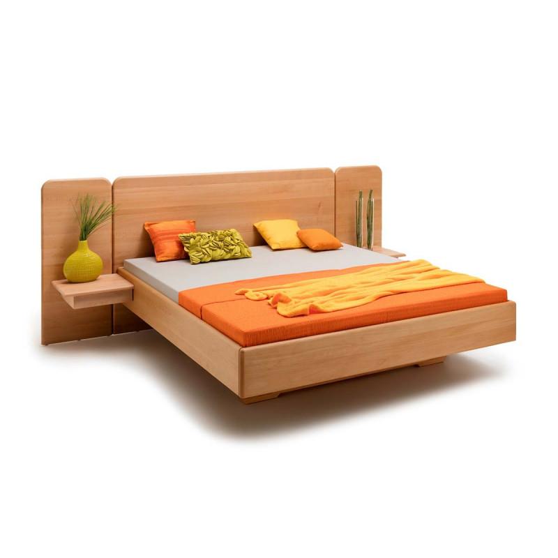Massivholzbett, Schwebebett STRAUBING, 200x200, Buche geölt, soft gerunde Kanten, aus thüringer Manufaktur, Rahmenstärke 3cm