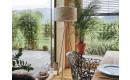 Ligno Stehlampe   Schirm Heu mit Kornblume - Standfuß Eiche Ambiente